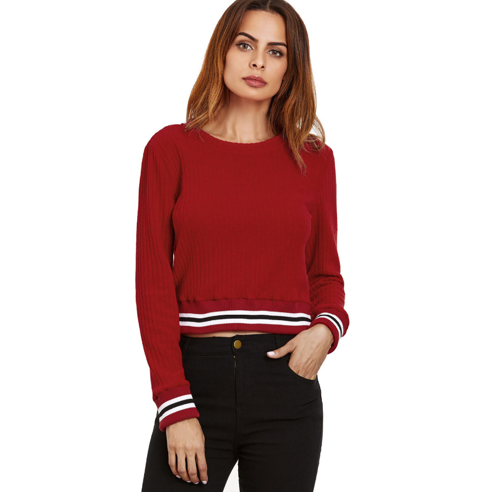 ChamsGend 2017 Women Casual Spell Color Long Sleeve Jumper Sweaters Coat Master Designer Dropship 171010