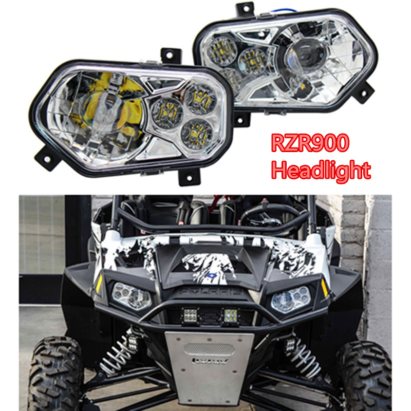 RZR900 Pair ATV UTV Light Accessories Projector Headlight LED Headlamp Kit + rewards card point for Polaris Ranger Side X Sides voltage regulator rectifier for polaris rzr xp 900 le efi 4013904 atv utv motorcycle styling