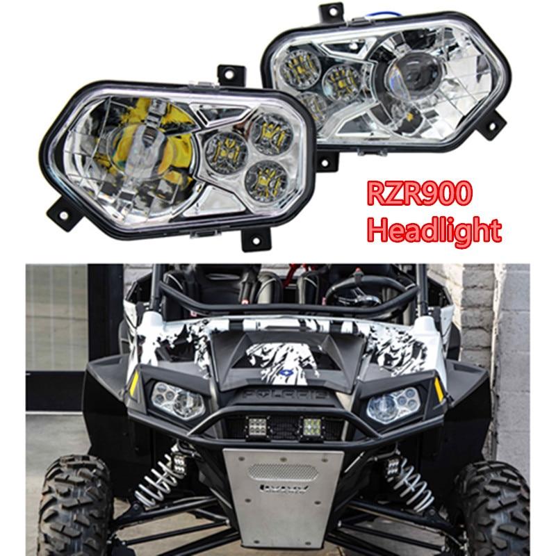 RZR900 Pair ATV UTV Light Accessories Projector Headlight LED Headlamp Kit + rewards card point for Polaris Ranger Side X Sides
