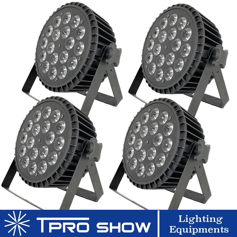 4 pièces 18x12 W led Par RGBW Aluminium Plat Par Spot Light Dmx éclairage de scène Effet pour le mariage de l'événement stade djs