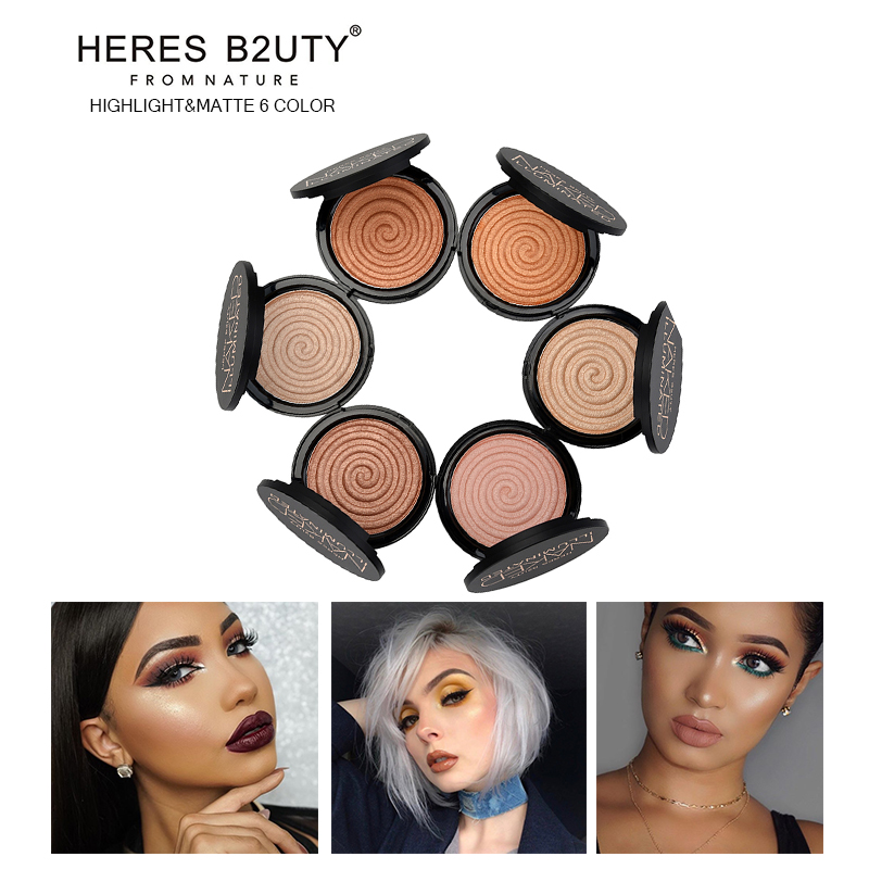 Brand HERES B2UTY Face Highlighter Makeup Bronze Trimming Highlighter Powder illuminator Makeup Mineral Long Lasting V Shape clinique mineral powder makeup for face spf30