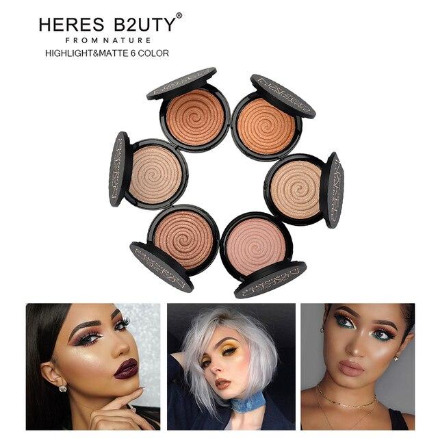 Бренд HERES B2UTY уход за кожей лица Хайлайтер для макияжа бронза отделка хайлайтер косметическая пудра Сияющий макияж Минеральная Длительный V форма