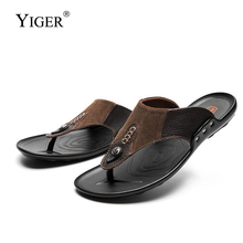 YIGER New Men Slippers flip flops 100% Genuine leather man beach slippers summer male casual comfortable non-slip 284