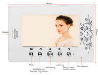 FREE SHIPPING Wired 7 4 Wire TFT Color Screen Video Door Phone Intercom System 1 White