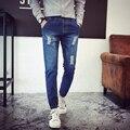 2017 Nuevos hombres de la Marca Blue Jeans Agujero Delgado Vaqueros Ocasionales de Los Hombres hip hop cow boy jeans hombres pantalones de fitness moda 9/10 longitud
