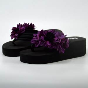 Slippers Sandals Shoe Flip-Flops-Shoes Wedge-Heels Bottom Floral Bathroom Summer Beach