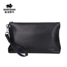 BISON DENIM High Quality Men Clutch Bag Genuine Leather Business Handbags Large Capacity Men's Bag Cowhide Wallet Free Shipping