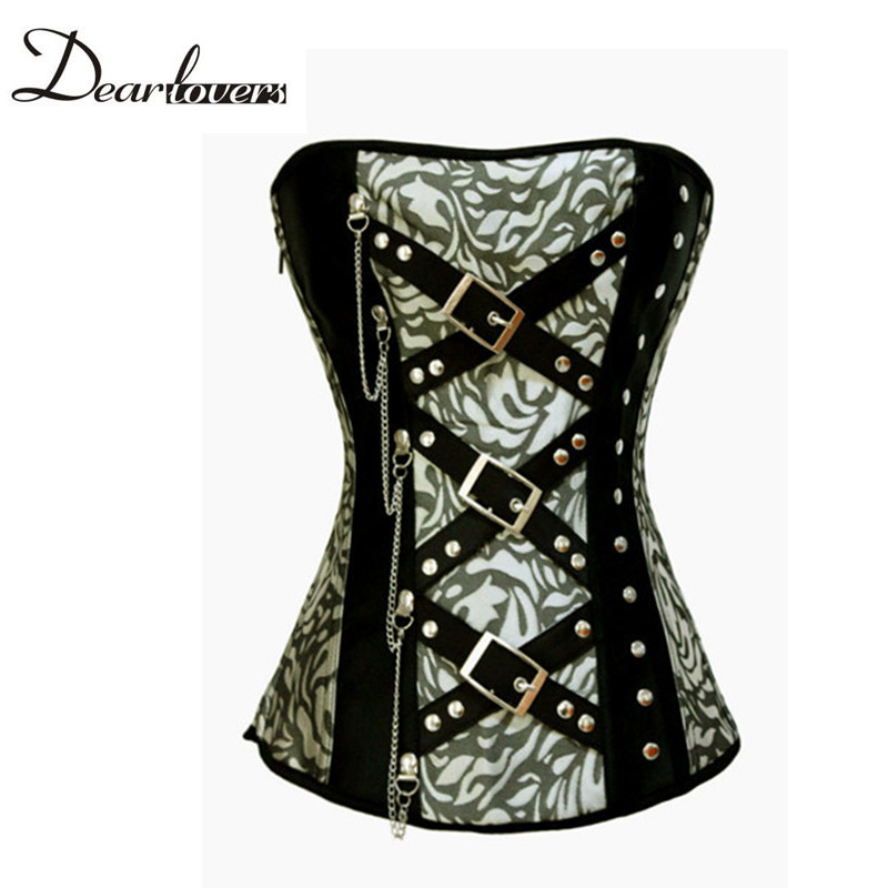 Classic Jacquard Overbust Corset with Rivets and Chain Bustier Top Gothic LC5278