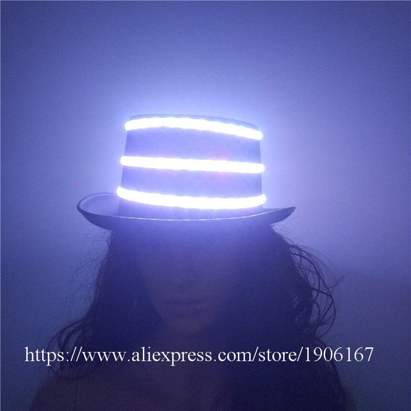 Fashion LED Luminous Hip Hop Jazz Hats Growing Flashing Cap Hat Halloween Christmas Party Headwear For Dancing Bar DJ Birthday