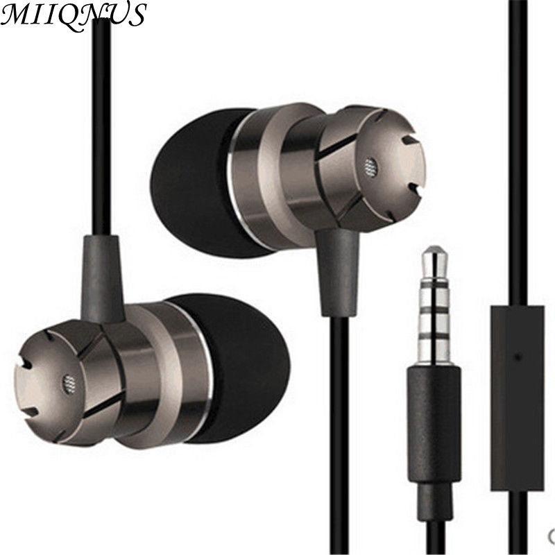 2017 Original Metal worm gear bass in-ear earphones with mic super bass headset  for mobile phone/PC/laptops/PAD