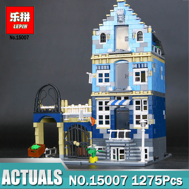 Lepin 15007 City Street European Market Model Building Block Set  Compatible LegoINGlys 10190 Bricks Toys  Children Model Gifts lepin 16002 2791pcs modular pirate ship metal beard s sea cow building block bricks set toys legoinglys 70810 for children gifts