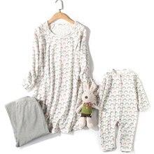 лучшая цена Autumn and winter cotton nursing pajamas Breast feeding clothes Nursing Tops Long Sleeve for Pregnant women parent-child 3 piece
