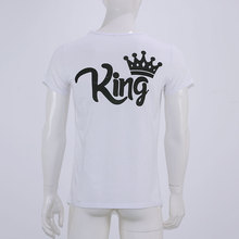 2018 Summer family Tshirt O-neck King Queen prince Princess Crown Letter Print Tee Cotton Couple Casual Shirt Valentine Matching