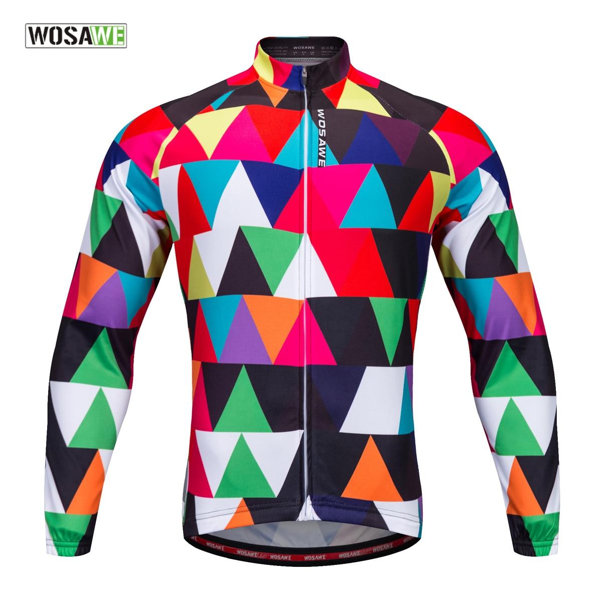WOSAWE Langarm Radfahren Jersey 100% Polyester Outdoor Sport Bike Kleidung Ropa Ciclismo DH Frühling/Herbst Tragen Fahrrad Trikots