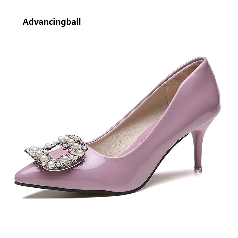 2017 fashion High Heels Rhinestones pearl women Pumps Sexy Ladies Solid color Patent leather Square buckle wedding Shoes woman luxury brand crystal patent leather sandals women high heels thick heel women shoes with heels wedding shoes ladies silver pumps