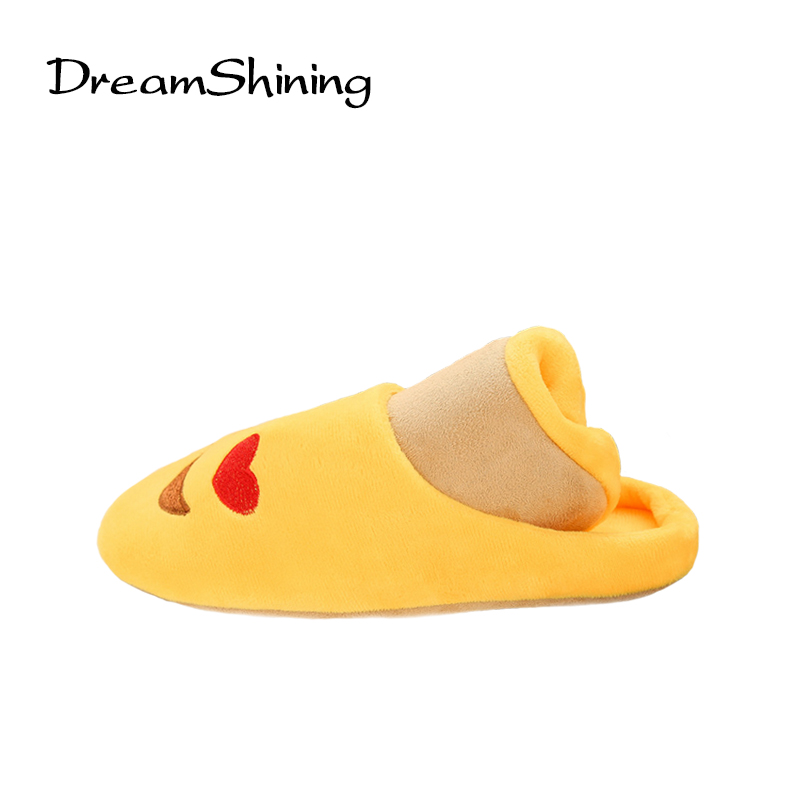 DreamShining New Embroidery Lovely Emoji Soft Slippers Indoor Half Pack With Home Shoes Silent Cotton Slippers 5 Color