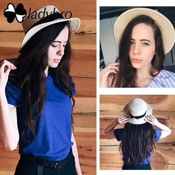 Summer Women Beach Hat Female Casual Hat Lady Ribbon Classic Bowknot Straw Flat Sun Hat 1