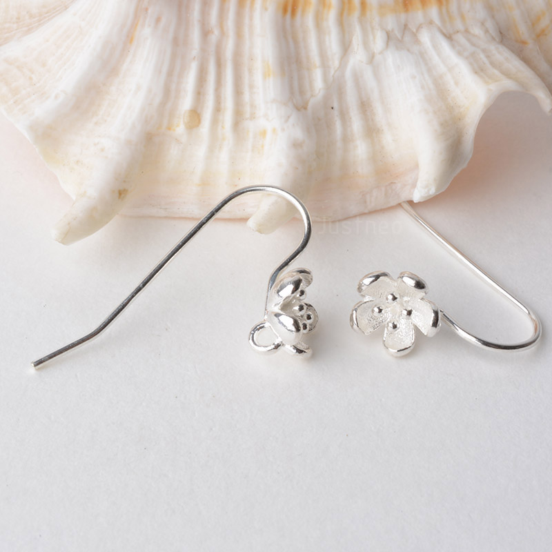 Solid 925 Sterling Silver Earring Hooks Flower Shaped Earwire Findings For Jewelry Making, Diy Components Accessories