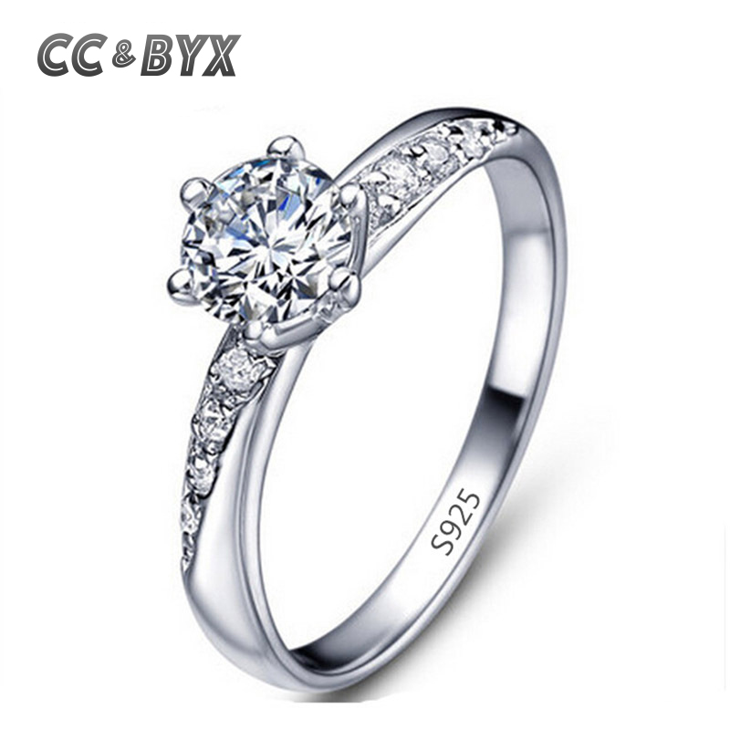 Classic Simple Design White Gold Color Engagement Rings For Women CZ Stone Wedding Band Jewelery