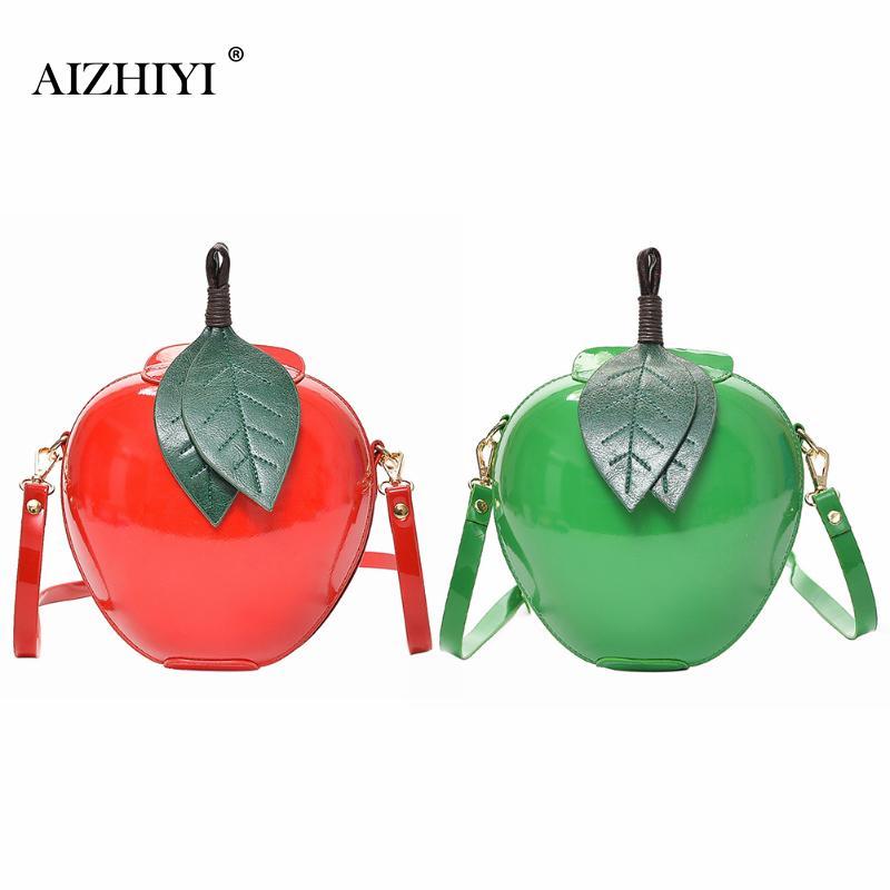 Women PU Shoulder Bag Circular Apple Shaped Hard Leisure Crossbody Bag Female Messenger Bags Leaves Mini Bags for Teenagers cylinder shaped mini crossbody bag