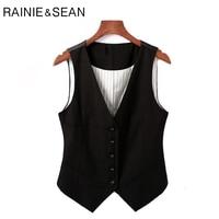 RAINIE SEAN Formal Vest Suit Women Short Office Wear Vests Waistcoat Female Black Vintage Spring Slim Fit Sleeveless Waist Coat