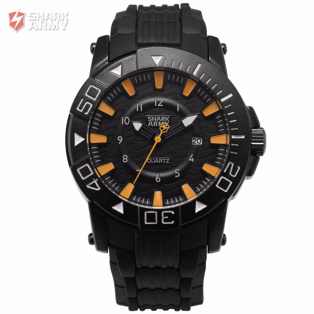 Voodoo II SHARK ARMY Black Orange Outdoor Electroplate Case Sport 12Hr Date Soft Rubber Quartz Men Military Wrist Watch / SAW212 voodoo ii shark army auto date black silicone strap military wristwatch sports clock men military quartz wrist watches saw177