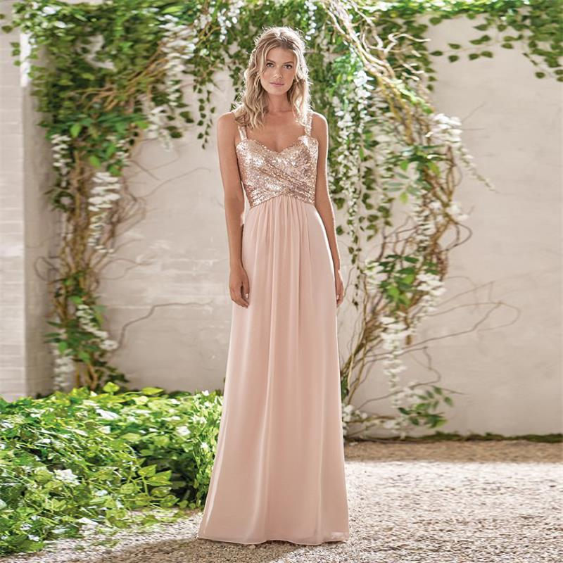 2019 Rose Gold Bridesmaid Dresses A Line Spaghetti Straps Backless Sequins Chiffon Wedding Party Dress Maid of Honor