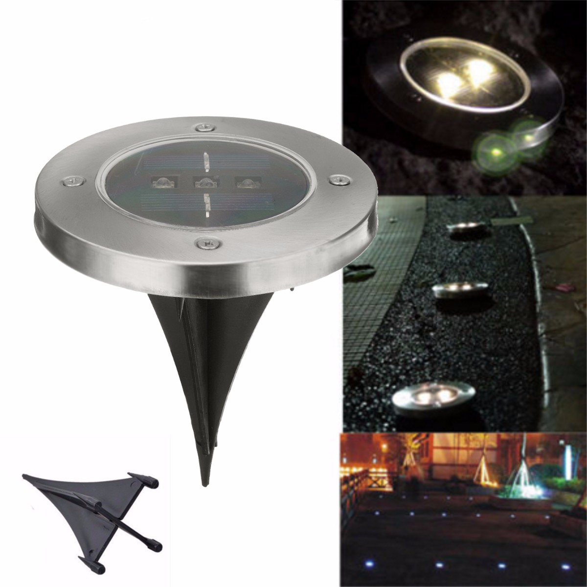 Jiguoor 5pcs Solar Powered 3 LED Solar Light Outdoor LED Garden Light Lawn Path Yard Fence Stainless Steel Buried Inground Lamp huayang outdoor solar powered led lamp lighting garden path wall fence lawn warm white light