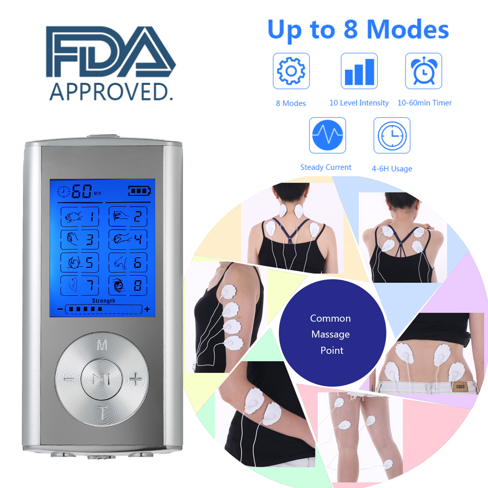 Carevas Massager Rechargeable Electric Pain Relief Machine 8 Modes Tens Unit Portable Pulse Massager Muscle Stimulator Therapy(China)