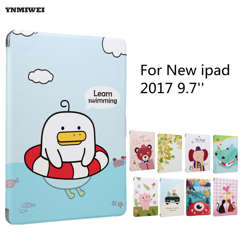 Leather Case For New ipad 9.7 2017 Colorfull Print Soft Tablet Protect Shell For ipad 2017 9.7 inch A1822 A1823 Smart Case +Flim
