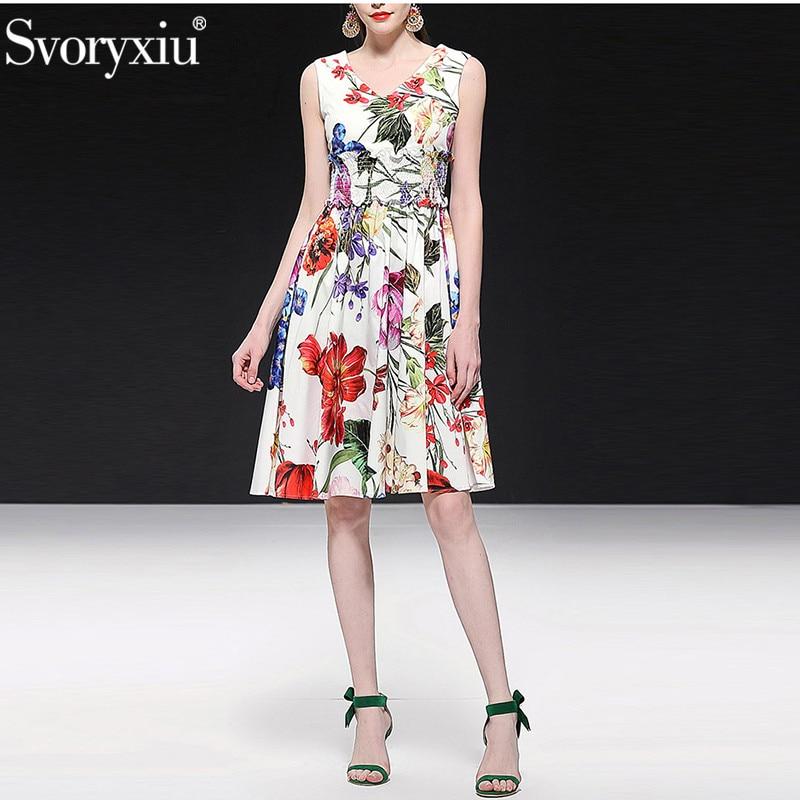 Kadın Giyim'ten Elbiseler'de Svoryxiu 2019 Pist Yaz % 100% Pamuk Tankı Elbise Kadın Elastik Bel Zarif Çiçek Baskı Tatil Parti Elbiseler Vestdios'da  Grup 1