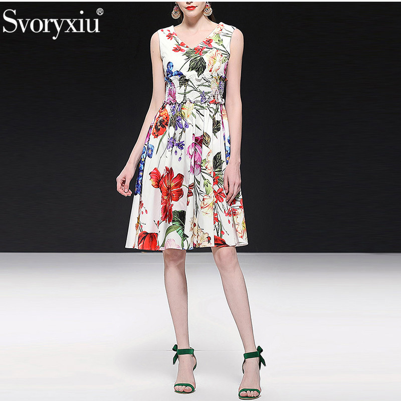 Svoryxiu 2019 Runway Summer 100 % Cotton Tank Dress Women's Elastic Waist Elegant Flower Print Holiday Party Dresses Vestdios-in Dresses from Women's Clothing    1