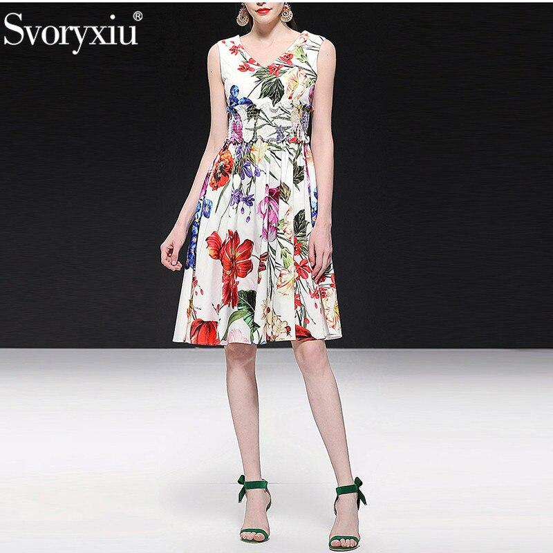 Svoryxiu 2019 Runway lato 100% bawełna sukienka zbiornika kobiet elastyczny pas elegancki kwiat wydruku Holiday Party suknie vestidos w Suknie od Odzież damska na  Grupa 1