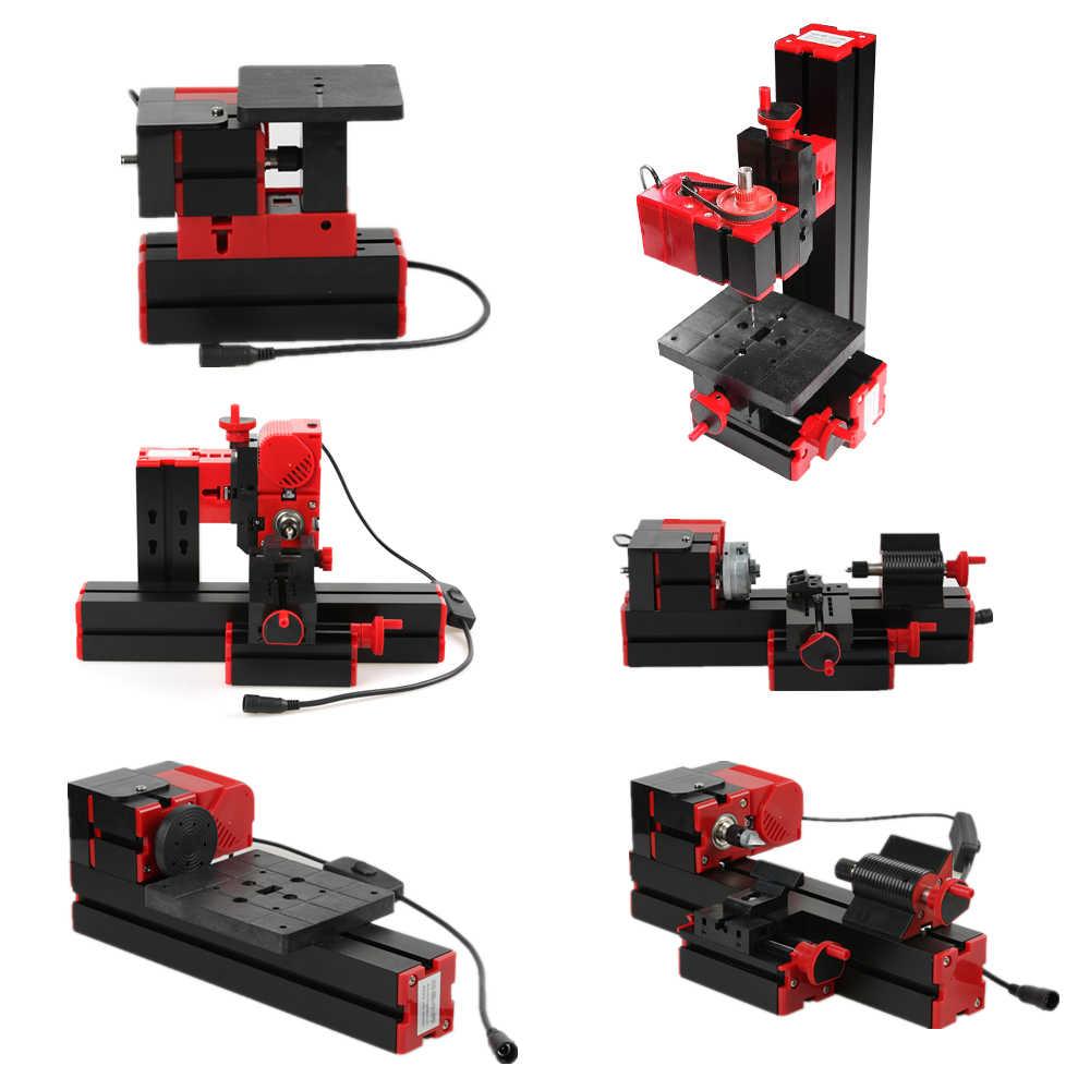 Mini torna DIY 6 1 çok fonksiyonlu motorlu trafo yapboz değirmeni matkap plastik Metal torna ahşap testere makinası