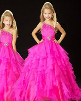 Cute One Shoulder Little Kids Flower Girls DressesBeaded Princess Organza Sheer Prom Gown for Weddings Party Stage