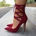 SHOFOO sapatos, uma bela sexy pós livre couro cashmere vermelho, tiras cruzadas, ponta, 11 cm alto-sapatos de salto alto. TAMANHO: 34-45