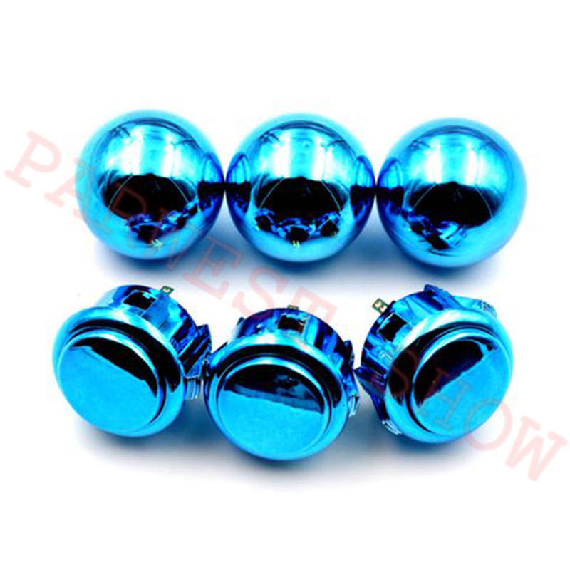 1PC Copy Sanwa LB-35 Metallic Balltop And Copy Sanwa Style Push Buttons With Gold Silver Purple Blue Red Color For Choose