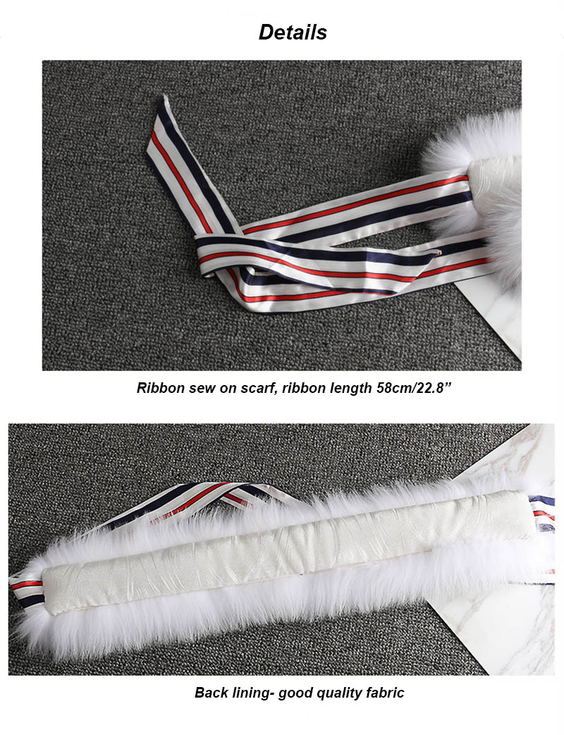 fox fur scarf with ribbon details