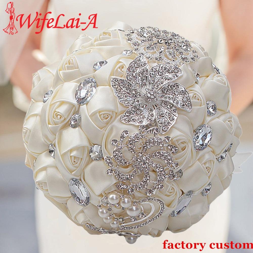 WIFELAI-A Artificial Wedding Bouquets Hand Made Flower Rhinestone Bridesmaid Crystal Bridal Wedding Bouquet De Mariage W228