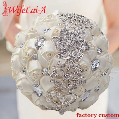 Buquê de Casamento Feitas à Mão Dama de Honra Buquê de Casamento de Casamento Artificial Wifelai-a Flores Strass Cristal de Casamento W228