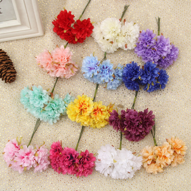 6pcs/lot Silk Artificial Daisy Carnation Flower bouquet DIY ...