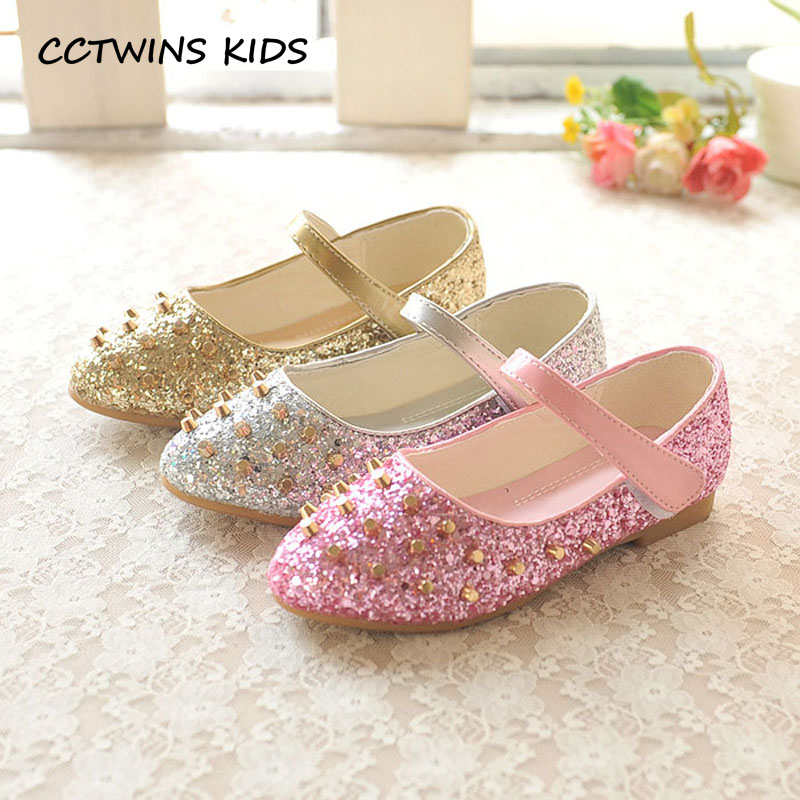 CCTWINS KIDS 2017 Toddler Fashion Silver Glitter Shoe Children Pu Leather Rivet Kid Brand Baby Girl Mary Jane Strap Flat G1483