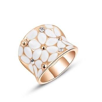 Кольцо из белого золота с австрийским кристаллом, с эмалью, цвета розового золота, широкое коктейльное кольцо, модные ювелирные украшения д...