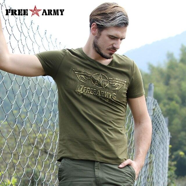 Free Army T Shirt Male Top Quality Cotton Army Green Casual Printing Short Sleeve T Shirt Men Brand Clothing Fashion T-Shirt 8