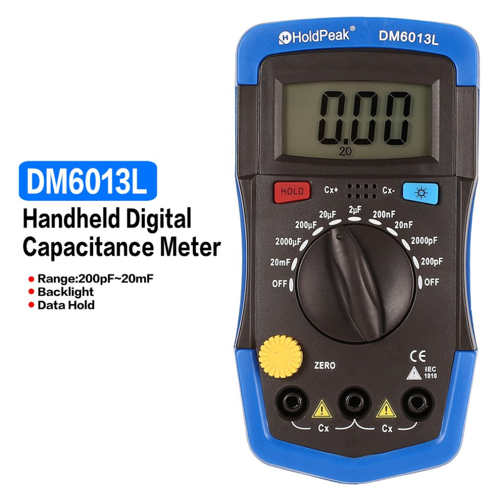 DM6013L Capacitor Meter Portable Handheld Digital Capacitance 1999 Counts Tester 200pF~20mF Data Hold Backlight