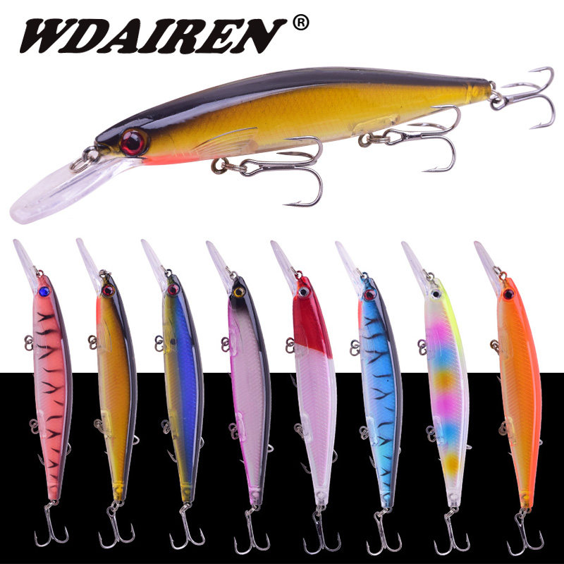 WDAIREN Minnows Fishing Lure 125mm 12.5g Floating bait Artificial Hard Baits Bass lures Wobblers Crankbait Pike fishing tackle