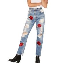 2017 летние женские брюки случайные вышитые джинсы брюки женские отверстие высокой талии джинсы тонкий женская одежда