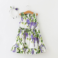 Girls Dresses Summer 2016 Baby Flower Vest Princess Dresses with hairband Sleeveless A-Line Floral Kids Dress for Girls Clothes