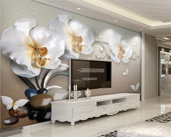 Beibehang Custom large 3D wallpaper 3d luxury gold jewelry Phalaenopsis photo wall mural Home decoration