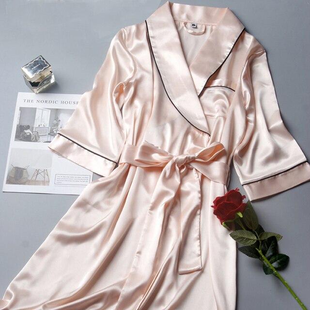 Bata de boda de satén de seda para dama de honor, Kimono, bata de baño grande, R202